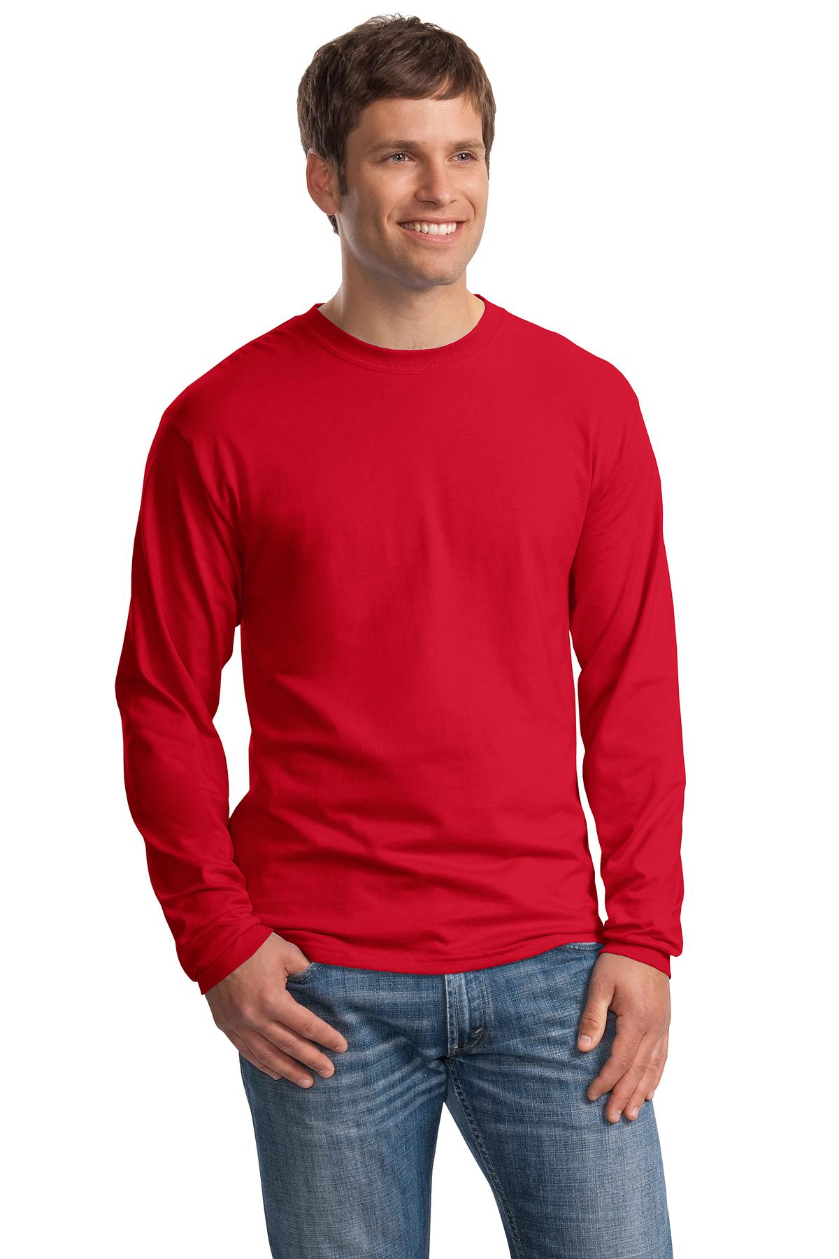 Long Sleeve Red T Shirt Mens Custom Shirt