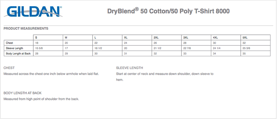 Gildan dryblend youth size chart gildan dryblend youth for Gildan dryblend 50 cotton 50 poly t shirt 8000