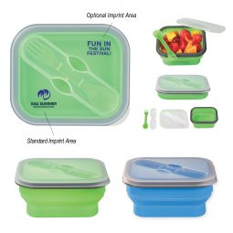 #CM 2122 Collapsible Food Container With Dual Utensil