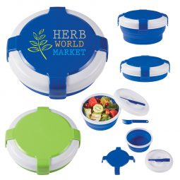 #CM 2129PH Silicone Collapsible Lunch Set With Custom Handle Box