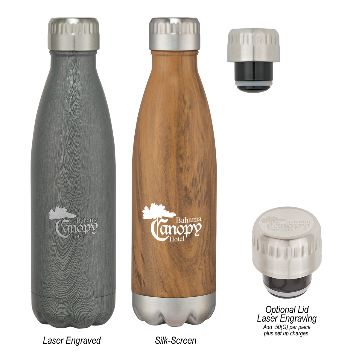 #CM 5736P - 16 Oz. Swig Stainless Steel Woodtone Bottle With Custom Box