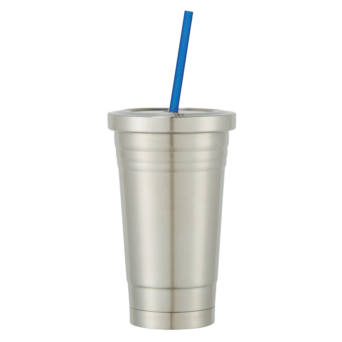 #CM 5757 - 16 Oz. Stainless Steel Cold Cup With Straw