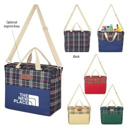 #CM 3741 Tartan Hefty Kooler Tote Bag