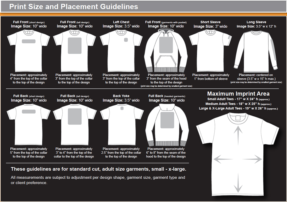 Print Placements Dimensions