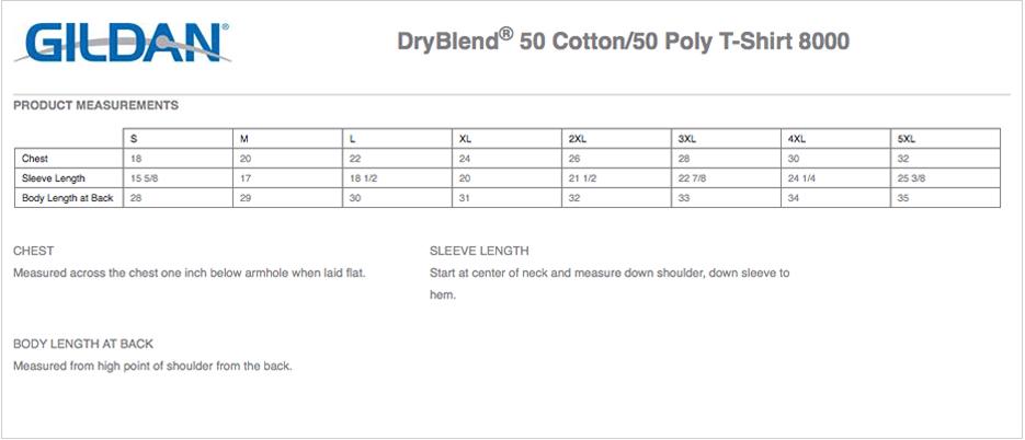 Gildan Dryblend 50 Cotton 50 Poly T Shirt 8000 Custom Printed