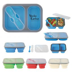 #CM 2121PH Collapsible 2-Section Food Container And Dual Utensil With Custom Handle Box