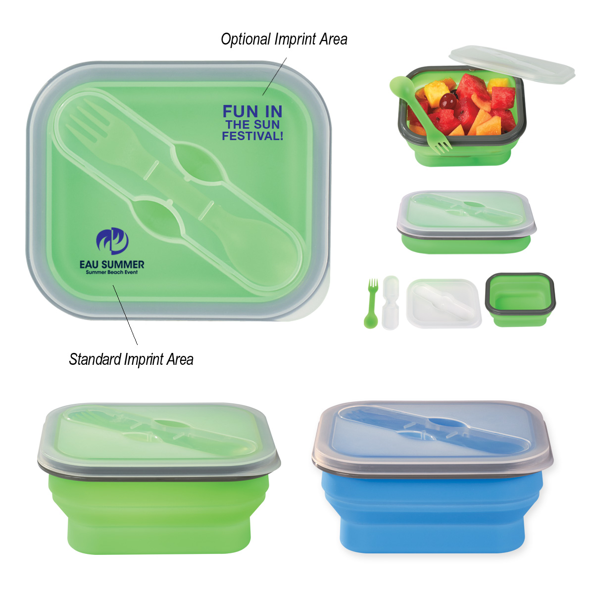 Cm 2122 Collapsible Food Container With Dual Utensil Custom Thumb