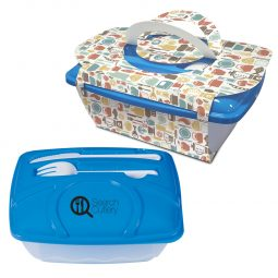 #CM 2128PH Wave Lunch Container With Custom Handle Box