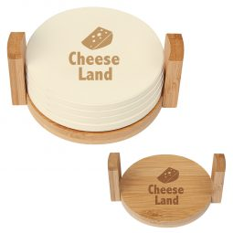 #CM 2207 - 4-Coaster Set With Bamboo Holder