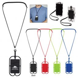 #CM 228 Silicone Lanyard With Phone Holder & Wallet