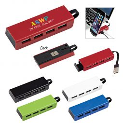 #CM 2642 - 4-Port Traveler USB Hub With Phone Stand