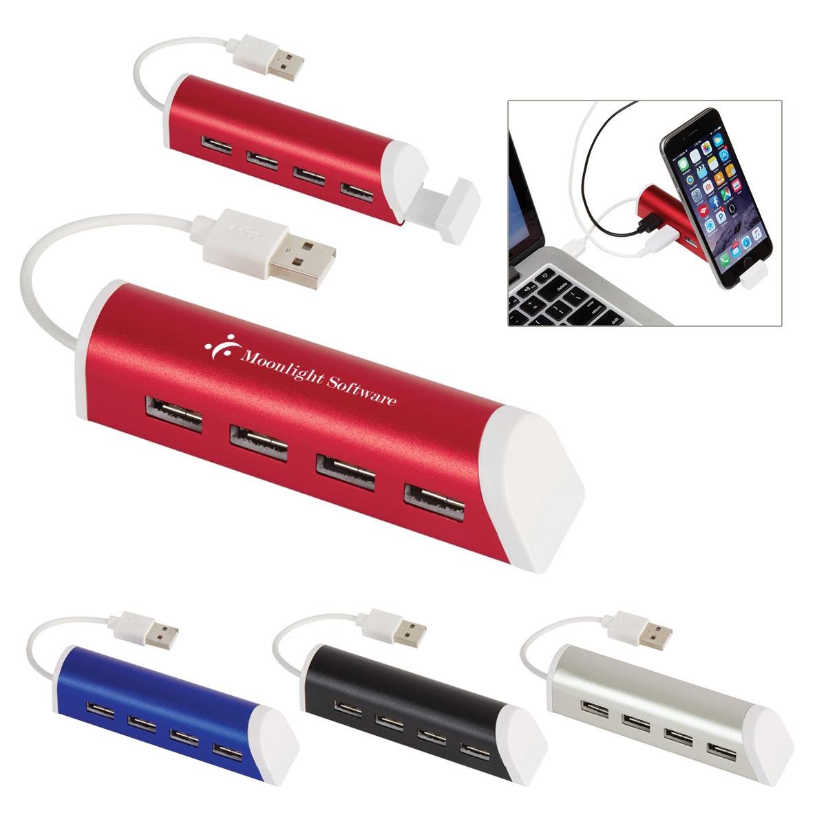 #CM 2836 - 4-Port Aluminum USB Hub With Phone Stand