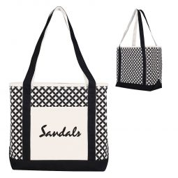 #CM 3229 Curved Diamond Canvas Tote Bag