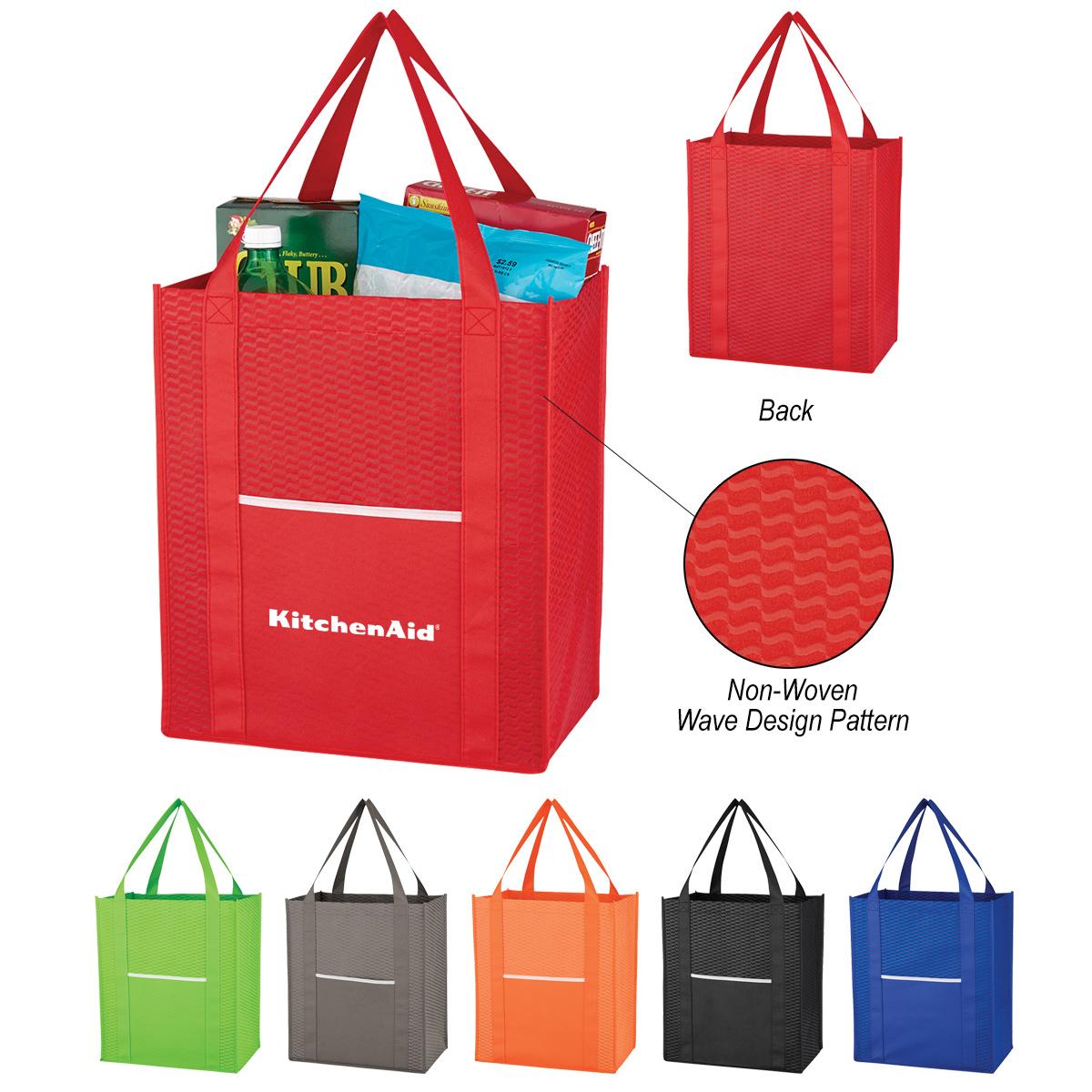 #CM 3327 Non-Woven Wave Shopper Tote Bag