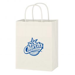 "#CM 3911 Kraft Paper White Shopping Bag - 8"" x 10-1/4"""
