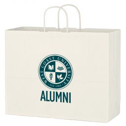 "#CM 3913 Kraft Paper White Shopping Bag - 16"" x 12-1/2"""