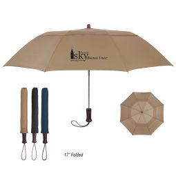"#CM 4120 - 44"" Arc Telescopic Folding Wood Handle Umbrella"
