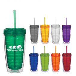 #CM 5716 - 16 Oz. Econo Double Wall Tumbler With Lid And Straw