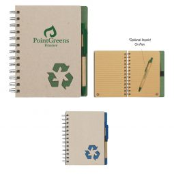 "#CM 6103 Eco-Inspired 5"" x 7"" Spiral Notebook & Pen"