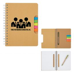 #CM 6108 Eco Spiral Notebook With Pen And Sticky Flags