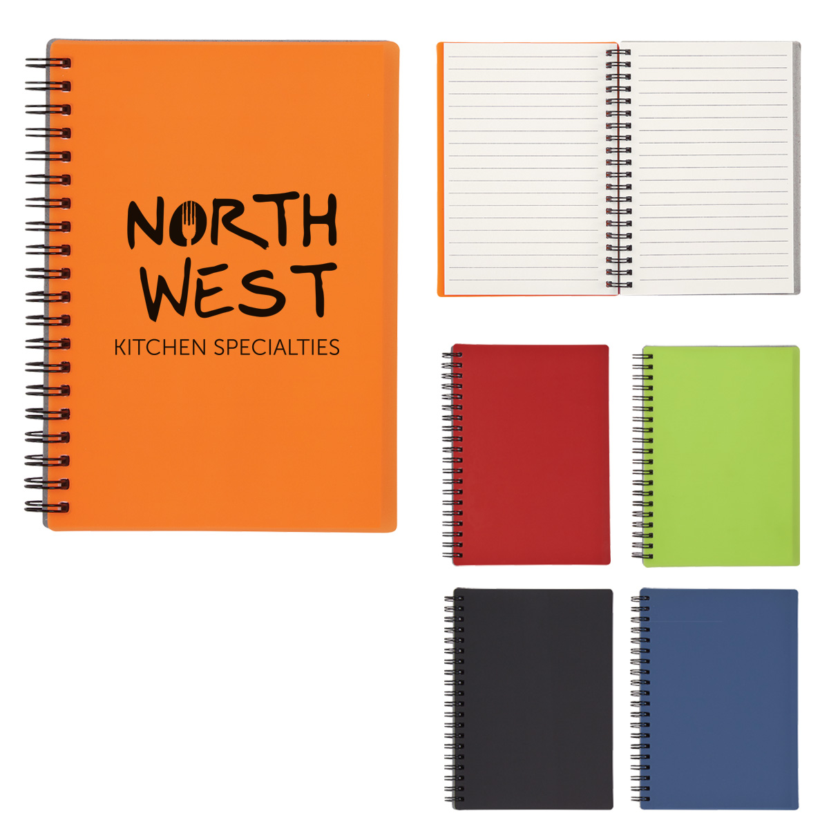 "#CM 6111 - 5"" X 7"" Rubbery Spiral Notebook"
