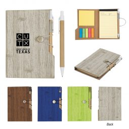 "#CM 6113 - 4"" X 6"" Woodgrain Look Notebook With Sticky Notes And Flags"