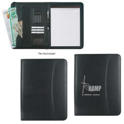 "#CM 6408 Leather Look 8 ½"" x 11"" Zippered Portfolio With Calculator"