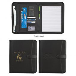 "#CM 6444 Pebble Grain 8 ½"" x 11"" Zippered Portfolio With Calculator"