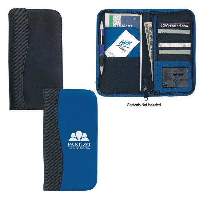 #CM 6637 Microfiber Travel Wallet With Embossed PVC Trim
