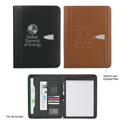 "#CM 6704 Eclipse Bonded Leather 8 ½"" x 11"" Zippered Portfolio With Calculator"
