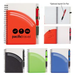 "#CM 6928 - 5"" x 7"" Rainbow Spiral Notebook With Pen"