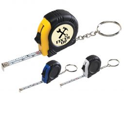 #CM 7313 Rubber Tape Measure Key Tag With Laminated Label